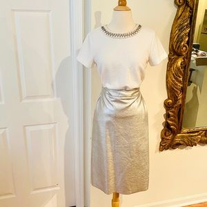 FAUX SILVER PENCIL SKIRT WITH POCKETS
